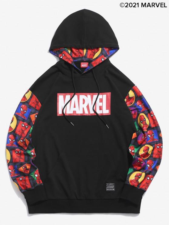 women Marvel Spider-Man Figure Geo Pattern Hoodie - BLACK L
