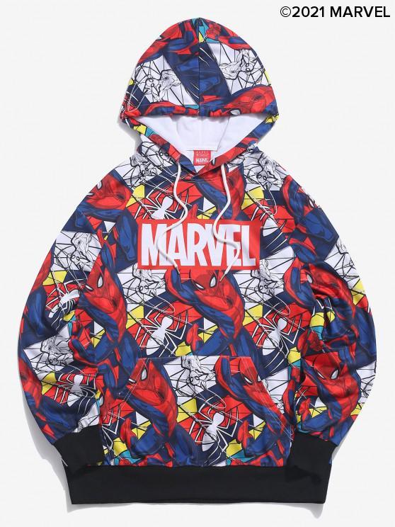 fancy Marvel Spider-Man Allover Figure Print Hoodie - DENIM DARK BLUE 2XL