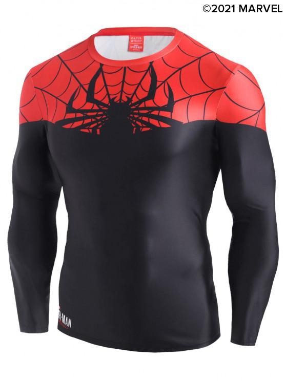 chic Marvel Spider-Man Color Blocking Tee - BLACK 2XL