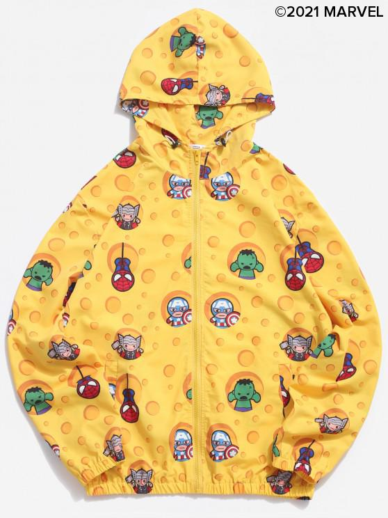 shop Marvel Spider-Man Cartoon Print Hooded Jacket - YELLOW S
