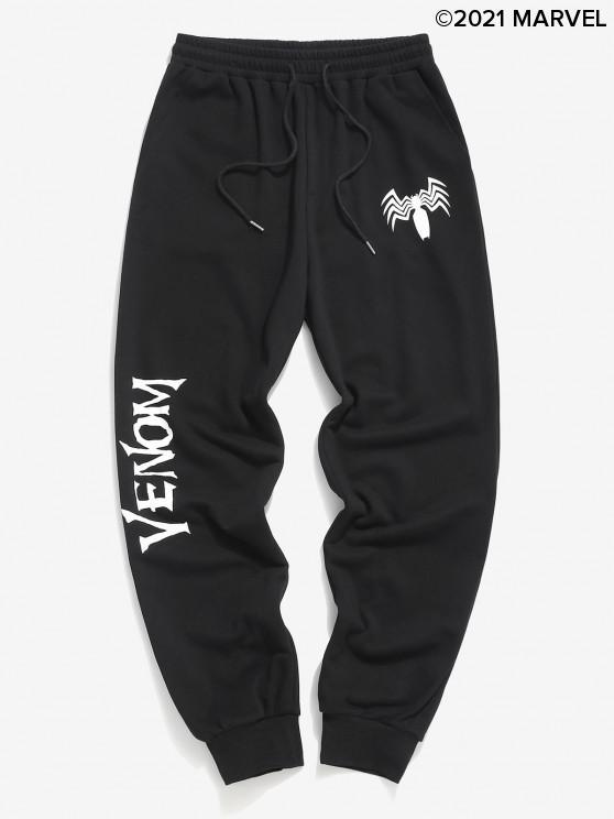 ladies Marvel Spider-Man Venom Print Sweatpants - BLACK 2XL