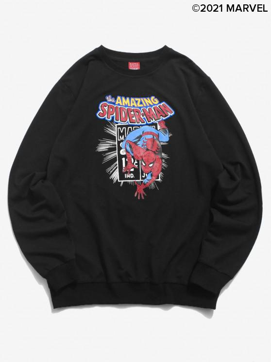 women Marvel Spider-Man Letter Graphic Printed Sweatshirt - BLACK S