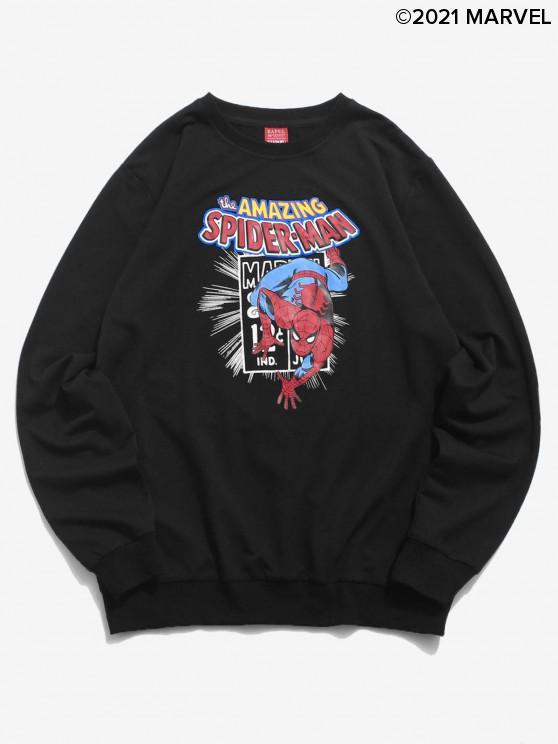 ladies Marvel Spider-Man Letter Graphic Printed Sweatshirt - BLACK L