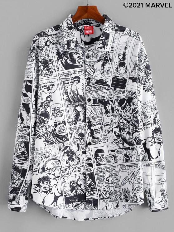 online Marvel Spider-Man Allover Comics Print Button Up Shirt - WHITE XL