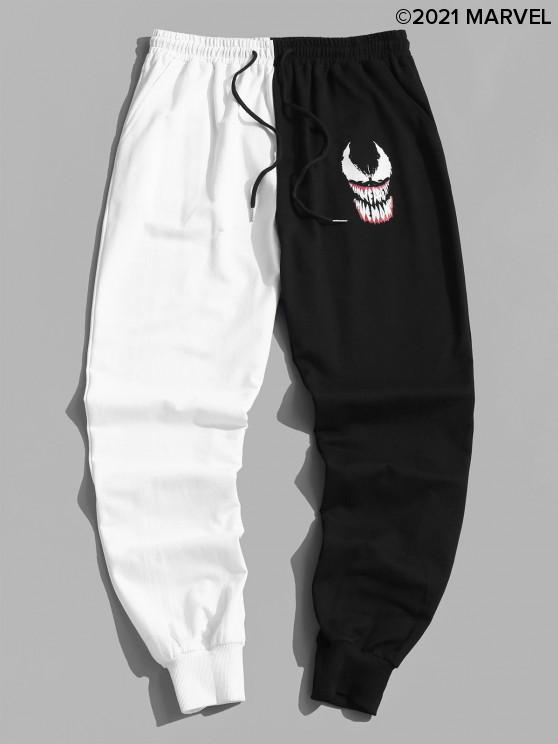 women's Marvel Spider-Man Venom Print Contrast Sweatpants - BLACK L