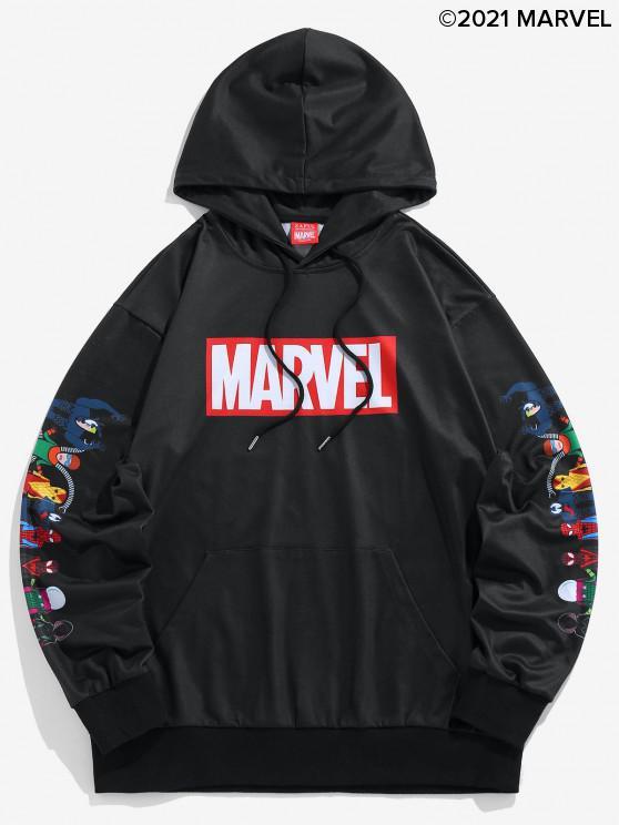 trendy Marvel Spider-Man Spider-Girl Venom Print Kangaroo Pocket Hoodie - BLACK M