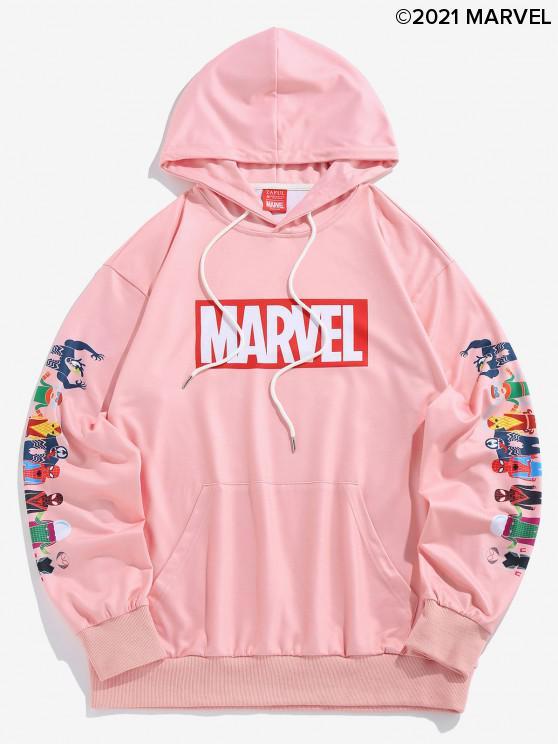 shops Marvel Spider-Man Spider-Girl Venom Print Kangaroo Pocket Hoodie - LIGHT PINK L