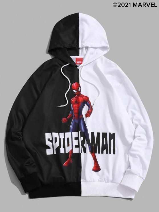 unique Marvel Spider-Man Print Two Tone Drawstring Hoodie - MULTI-A XL