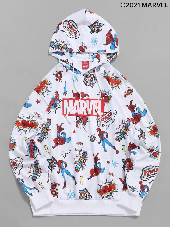 hot Marvel Spider-Man Front Pocket Letters Graphic Print Hoodie - WHITE S
