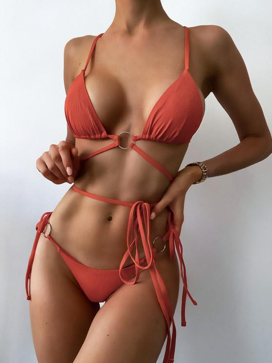 fashion ZAFUL Ribbed O Ring Wrap-around Scrunch Butt String Bikini Swimwear - ORANGE L
