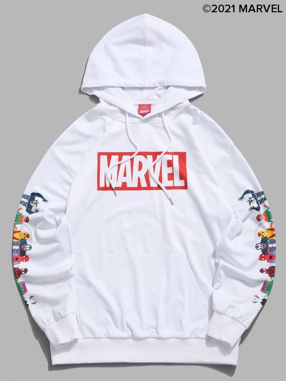 trendy Marvel Spider-Man Spider-Girl Venom Print Kangaroo Pocket Hoodie - WHITE S