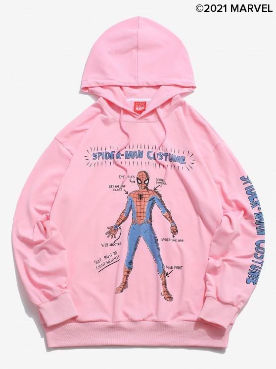 latest Marvel Spider-Man Letters Graphic Printed Hoodie - PINK 2XL