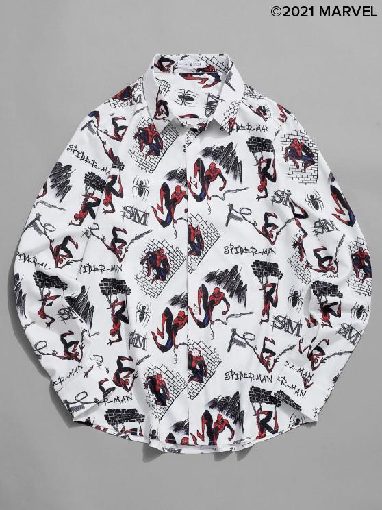 fashion Marvel Spider-Man Cartoon City Print Long Sleeve Shirt - WHITE L