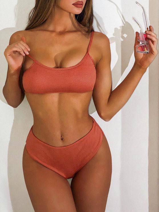 womens ZAFUL One Shoulder Textured Three Piece Swimsuit - DARK ORANGE M