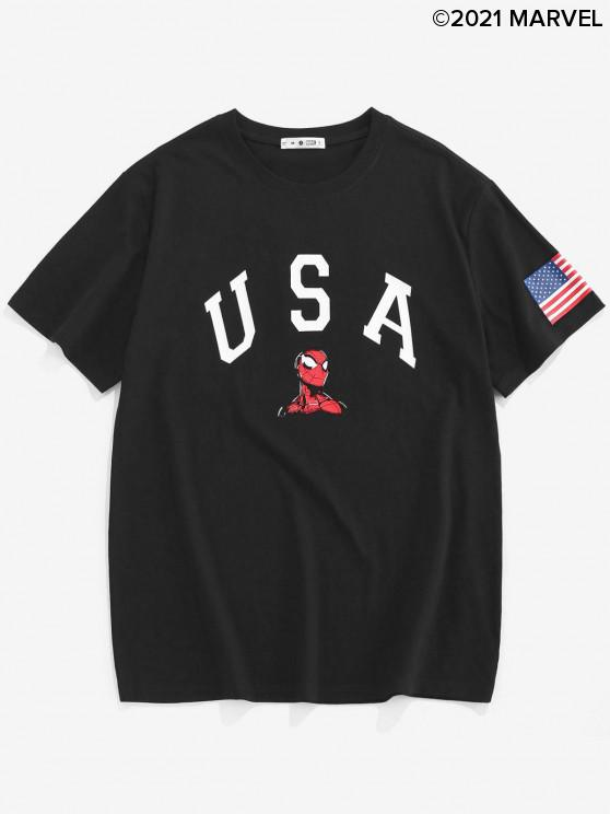 latest Marvel Spider-Man USA American Flag Graphic T-shirt - BLACK XL