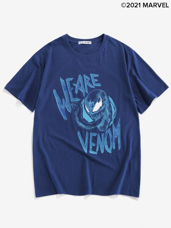 unique Marvel Spider-Man Venom Pattern T-shirt - DENIM DARK BLUE XL