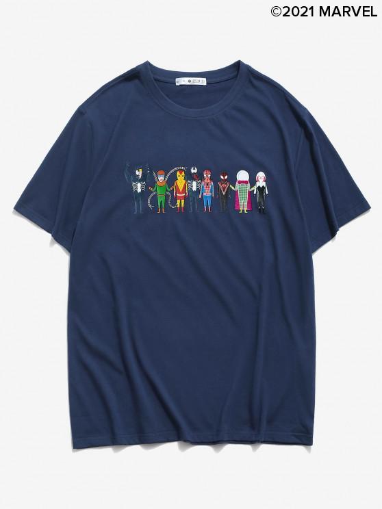 women's Marvel Spider-Man Spider-Girl Venom Pattern Basic T-shirt - DENIM DARK BLUE 2XL