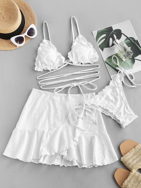 women ZAFUL Eyelet Lettuce-trim O Ring Floss Three Piece Bikini Swimsuit - WHITE S