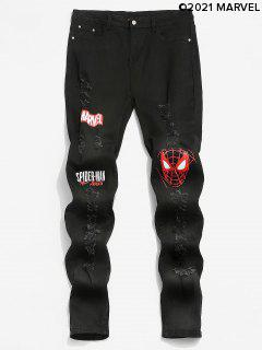 Marvel Spider-Man Pattern Ripped Design Jeans - Black L
