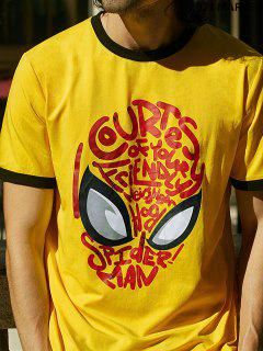 Marvel  Spider-Man Mask Graphic Ringer T Shirt - Yellow 2xl
