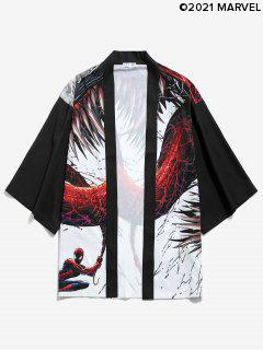 Marvel Spider-Man Venom Open Front Kimono Cardigan - Black Xl