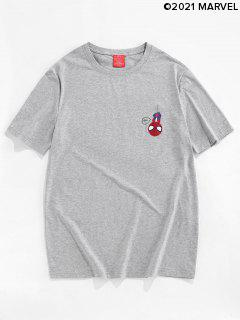 T-Shirt Basic Con Motivo Di Ragno - Platino M