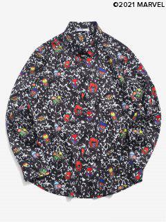 Camicia Casuale Con Stampa Cartoon - Nero M