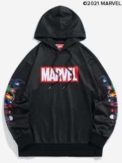 Marvel Spider-Man Spider-Girl Venom Print Kangaroo Pocket Hoodie - Black Xl