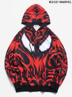 Marvel Spider-Man Venom Print Rib-knit Trim Hoodie - Lava Red S