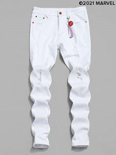 Marvel Spider-Man Ripped Jeans With Keychain - White L