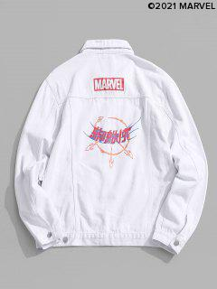Marvel Spider-Man Button Up Graphic Print Jean Jacket - White L