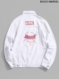 Marvel Spider-Man Button Up Graphic Print Jean Jacket - White 2xl