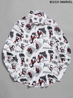 Marvel Spider-Man Cartoon City Print Long Sleeve Shirt - White L