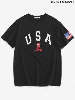 Marvel Spider-Man USA American Flag Graphic T-shirt - Black Xl