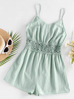 ZAFUL Cami Crochet Insert Wide Leg Romper - Green S