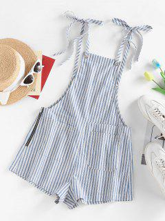 ZAFUL Striped Tie Shoulder Pocket Zip Overall Romper - Light Blue M