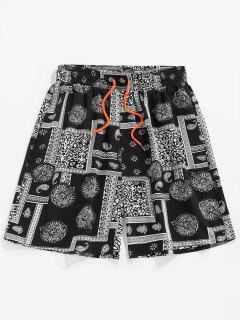 ZAFUL Paisley Patchwork Printed Beach Shorts - Black Xl