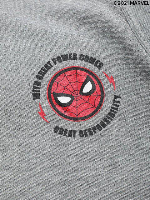Marvel Spider-Man Buchstabemuster Cartoon Druck lässiges T-Shit - Hellgrau S Mobile
