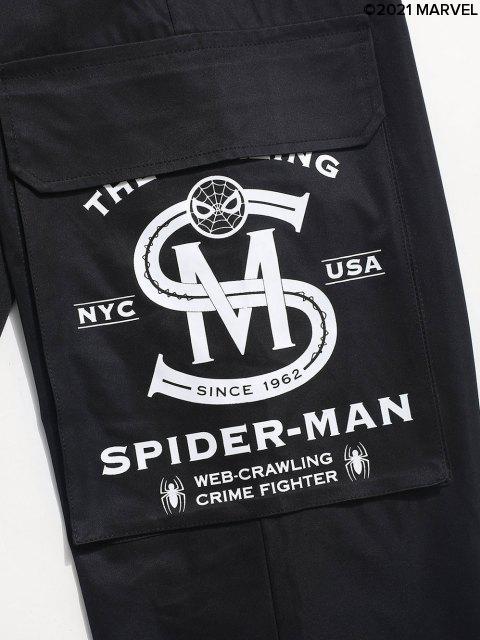 Marvel Spider-Man Printed Klappen-Tasche Jogger Cargohose - Schwarz S Mobile