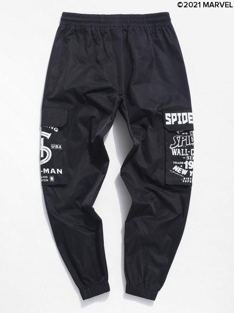Cargo Pantaloni da Jogging Stampati con Tasche con Patta - Nero XL Mobile