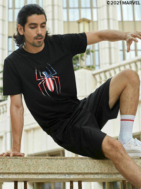 Marvel Spider-Man-amerikanische Flagge-Muster-T-Shirt - Schwarz S Mobile