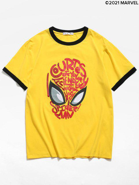 T-shirtMasqueLettreGraphiqueMarvel Spider-Man - Jaune M Mobile