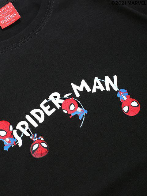T-shirt de Base Lettre Marvel Spider-Man - Noir L Mobile