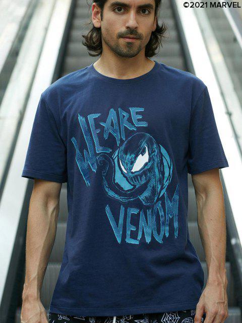 Marvel Spider-Man Venom-Muster-T-Shirt - Denim Dunkelblau S Mobile