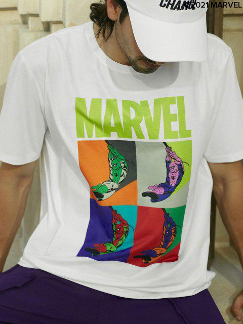 fashion Marvel Spider-Man Graphic Basic T Shirt - WHITE M Mobile