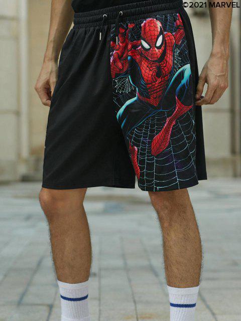 affordable Marvel Spider-Man Slinger Graphic Shorts - BLACK 2XL Mobile