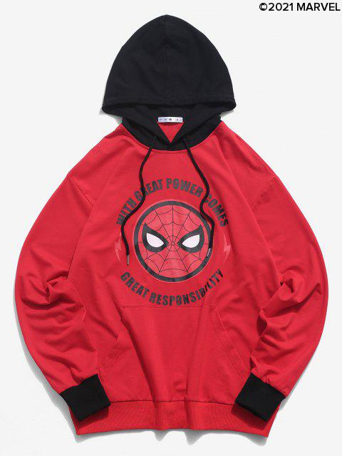 women Marvel Spider-Man Letter Graphic Colorblock Hoodie - MULTI M Mobile