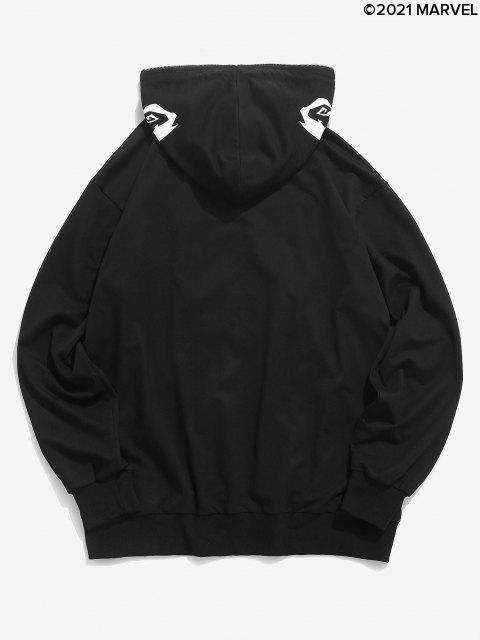 Sweat à Capuche Simple Poitrine Géométrique Araignée avec Fermeture à Zip - Noir S Mobile