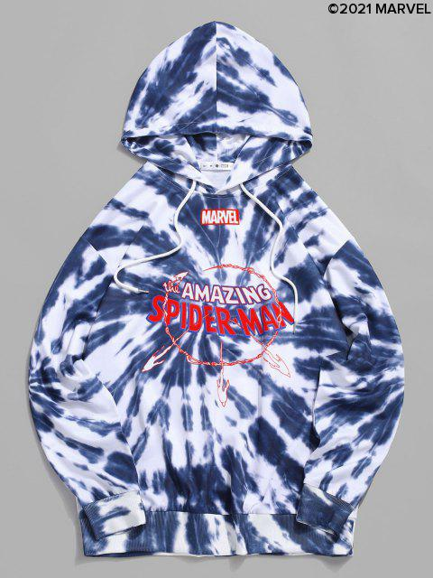 hot Marvel Spider-Man Amazing Graphic Tie Dye Hoodie - BLUE GRAY L Mobile