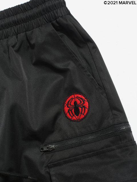 Pantaloni Cargo con Ricamo Floreale e Ragno e Cerniera - Nero 2XL Mobile